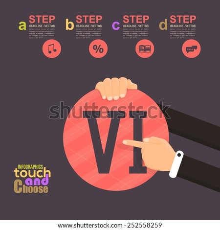 Flat Infographics Template and Web Elements - Business, Marketing Touch and Choose Concept Vector Design, Roman Numerals Six - stock vector