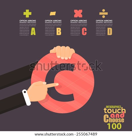 Flat Infographics Template and Web Elements - Business, Marketing Touch and Choose Concept Vector Design, Roman Numbers Hundred  - stock vector