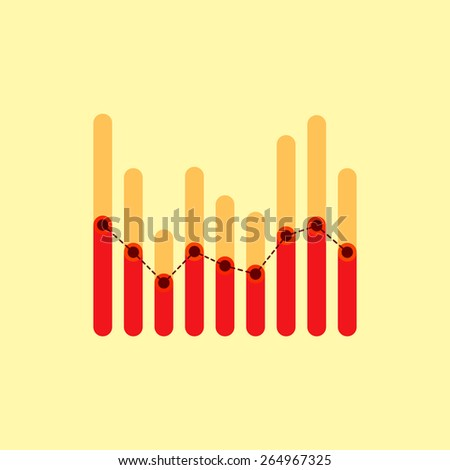 Flat infographics with two levels red overlapping bars and dotted center line graph - stock vector