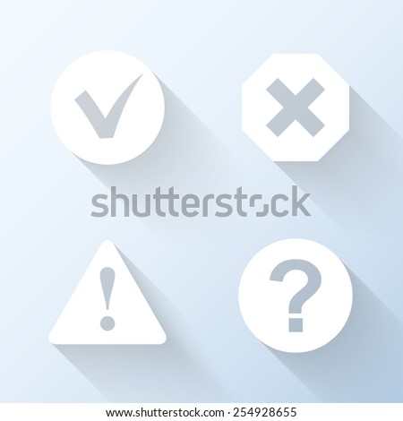 Flat information icons with long shadows. Vector illustration - stock vector