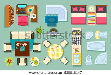 Flat Interior Top View Living Room Stock Vector 530818147 Shutterstock