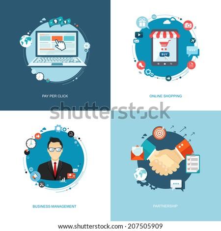 Flat internet banners set. Team management, online shopping, partnership, pay per click illustrations. Eps10 - stock vector