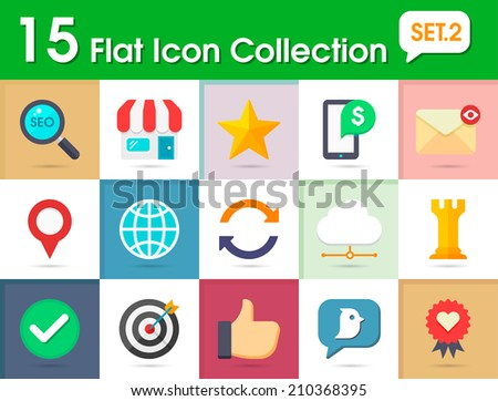 Flat internet icons vector collection with of web and business, office and marketing element. Isolated on multi-color background. - stock vector