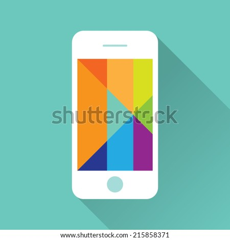 Flat iPhone with Colorful Screen Icon - stock vector