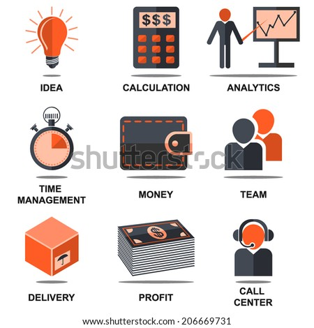 Flat isolated icons set light bulb,calculator, analysis,stopwatch, purse, team, delivery box, profit, call center for web design. Vector illustrations. - stock vector