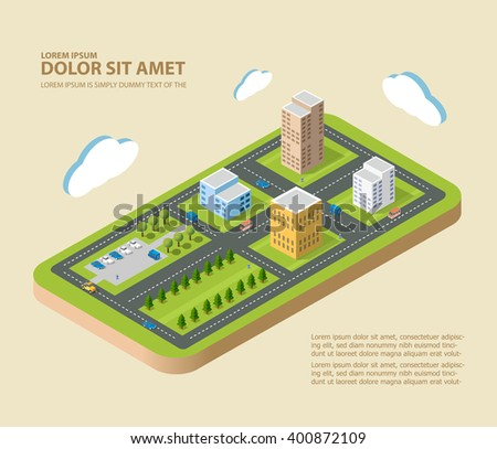 Flat isometric city. Urban neighborhoods, skyscrapers, homes and streets in an isometric view. - stock vector