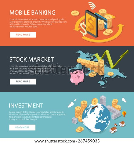 Flat isometric concepts for finance, stock market and business, consulting, investing, crowdfunding, m-banking. Can be used for infographics, web design, diagram, banners, promotional materials, etc. - stock vector
