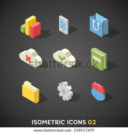 Flat Isometric Icons Set 2 - stock vector
