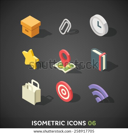 Flat Isometric Icons Set 6 - stock vector