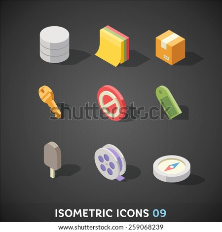 Flat Isometric Icons Set 9 - stock vector