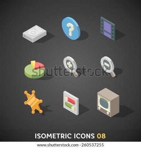 Flat Isometric Icons Set 8  - stock vector