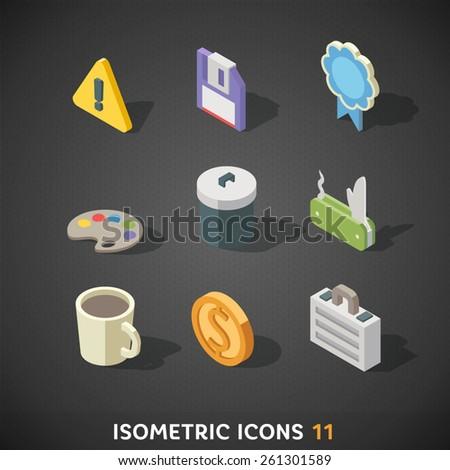 Flat Isometric Icons Set 11 - stock vector