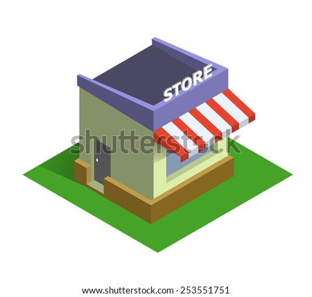 Flat isometric store logo, isolated vector icon, on line shopping and e-commerce concept web market - stock vector