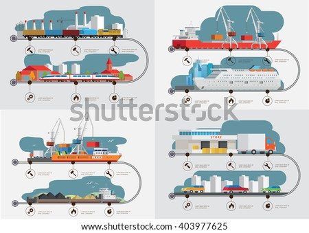 Flat  isometric transport cargo shipping  concept infographics vector illustration.  - stock vector