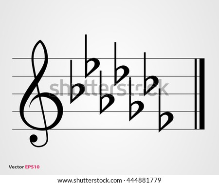Flat key signature on gray