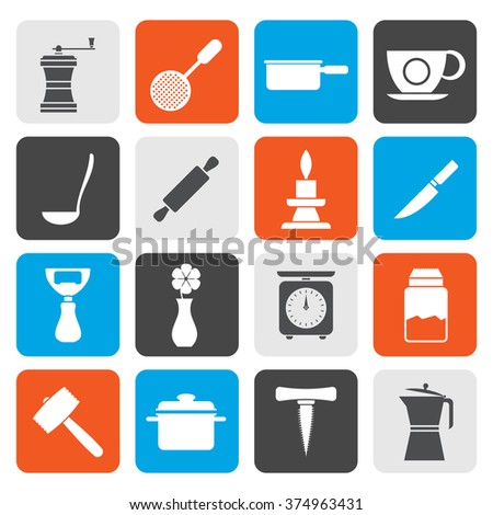 Flat Kitchen and household tools icons - vector icon set - stock vector