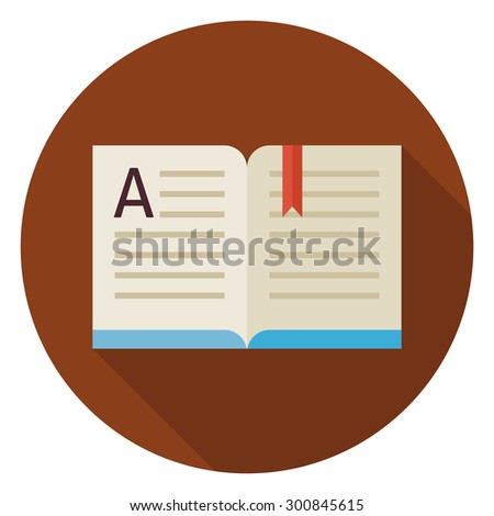 Flat Knowledge Reading Open Book Circle Icon with Long Shadow. Back to School and Education. Wisdom and Library Vector illustration. Reading Book with Bookmark Object.  - stock vector