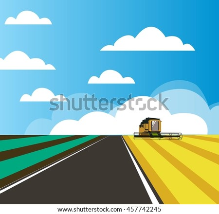 Flat landscape background with filed and combine-harvester
