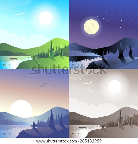 Flat landscape hilly mountains wild forest lake boat scene set. Stylish web banner nature outdoor collection. Daylight, night moonlight, sunset view, retro vintage picture sepia. - stock vector