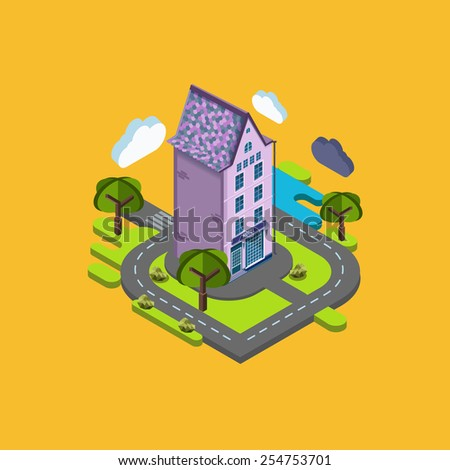 Flat landscape street infographic 3d isometric concept. Application location building in the natural landscape. - stock vector