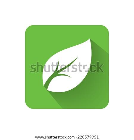 Flat leaf icon. Vector illustration - stock vector