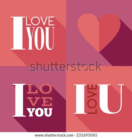"""Flat lettering """"I love you"""" - stock vector"""