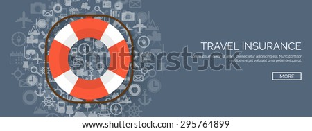 Flat life buoy. Travel help and support.  - stock vector