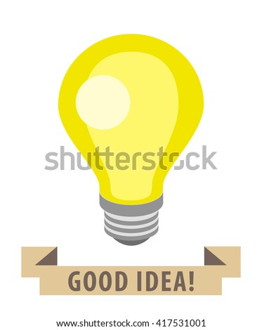 Flat Light Bulb. Isolated Vector Elements.