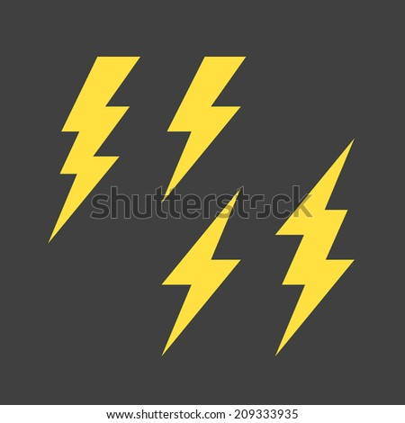 Flat lightning symbols set. Vector. - stock vector