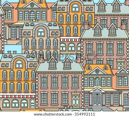 Flat line architecture seamless pattern. Color vector linear illustration. Outlined stroke realty background. Printable poster, flyer, web banner, endless texture. Citiscape, dwelling house, building - stock vector