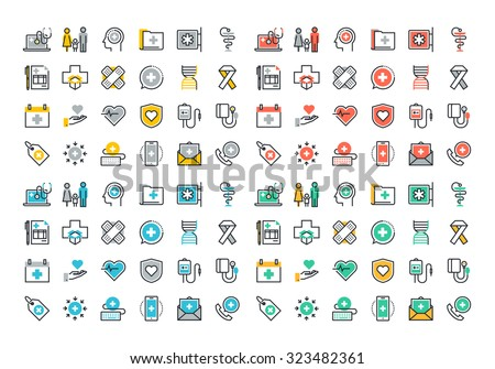 Flat line colorful icons collection of healthcare services, online medical support, health insurance, pharmacy and family health care, disease prevention - stock vector