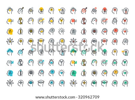 Flat line colorful icons collection of human brain process, people thinking, emotions, mental health, creative process, business solution, character experience, strategy and development, opportunities - stock vector