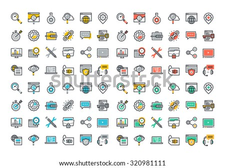 Flat line colorful icons collection of SEO, cloud computing technology, traffic growth, rank result, keywording and link building, global network connection, data protection, digital marketing. - stock vector