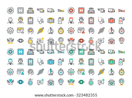 Flat line colorful icons set of healthcare and medicine, medical services and support, health care facility, emergency medical services, transport of patients, diagnosis, treatment and laboratory. - stock vector