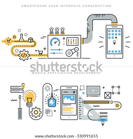 Flat line concepts for mobile website design and development, mobile application development, responsive design, programming, seo, smartphone user interface construction, for website banners. - stock vector