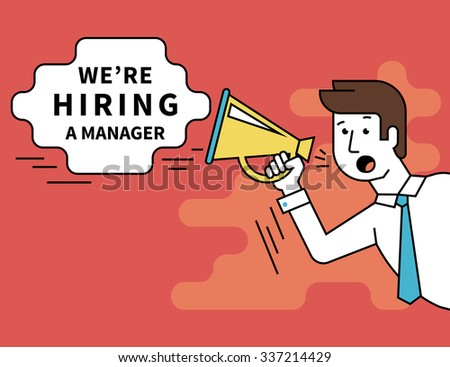 Flat line contour illustration of male employer shouting into a megaphone announcements about hiring a professional manager. Template bubble with outlined text - stock vector