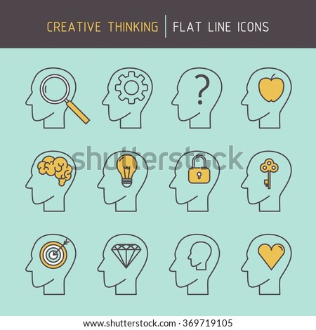 Flat line creative thinking human head icons of problem solving, goal targeting, achieving, creativity, strategic planning and learning. - stock vector