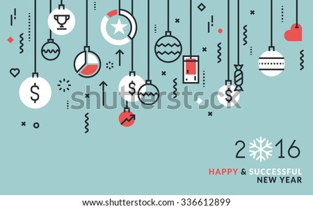 Flat line design business concept for New Year's greeting card, web banner and marketing material. - stock vector
