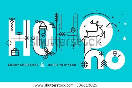 Flat line design Christmas and New Year's vector illustration for greeting card and banner. - stock vector
