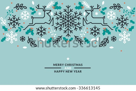 Flat line design Christmas and New Year vector illustrations for greeting cards, banners, marketing material, background, wrapping paper. - stock vector