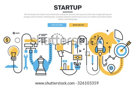 Flat line design concept for business startup process from idea, trough planning and strategy, market research, marketing plan, to realization and business success, for website banner and landing page - stock vector