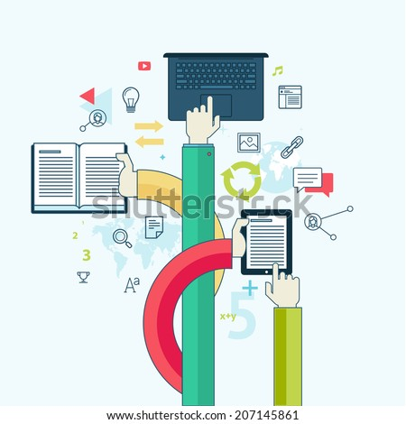 Flat line design concept for education. Concept for web banners and printed materials. - stock vector