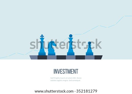 Flat line design concept for investment, finance, banking, market data analytics, strategic management. Strategy for successful business. Investment growth. Investment business. Investment management. - stock vector