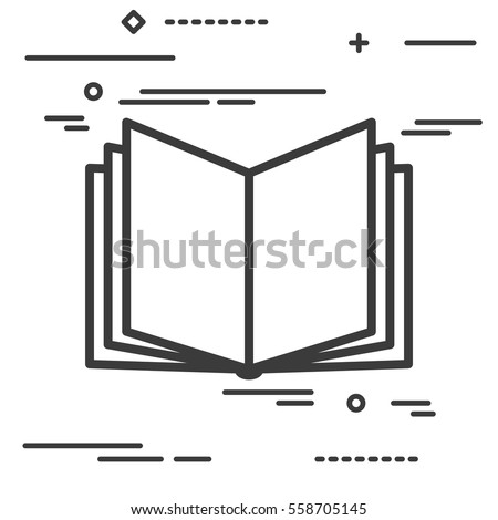 Flat Line design graphic image concept of open book icon on a white background