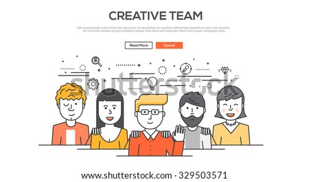 Flat Line design graphic image concept, website elements layout of  Creative team. Icons Collection of Creative Work Flow Items. Vector Illustration - stock vector