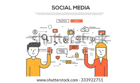 Flat Line design graphic image concept, website elements layout of Social Media. Icons Collection of Creative Work Flow Items and Elements. Vector Illustration - stock vector