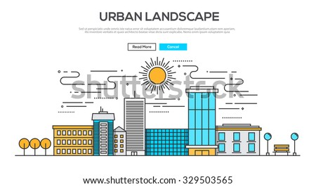 Flat Line design graphic image concept, website elements layout of  Urban Landscape. Icons Collection of Creative Work Flow Items. Vector Illustration - stock vector