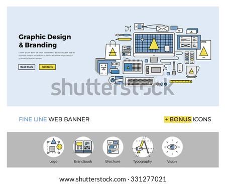 Flat Line Design Web Banner Template Stock Vector 331275758 ...