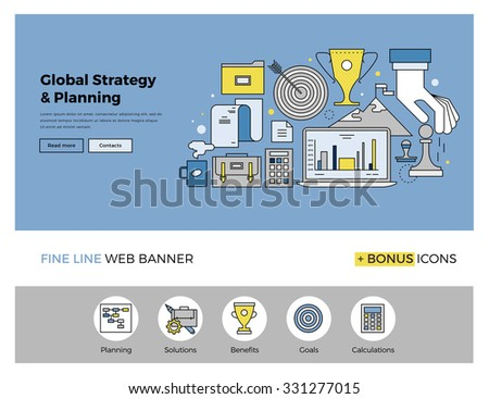 Flat line design of web banner template with outline icons of global business strategy, success market planning and corporate mission. Modern vector illustration concept for website or infographics. - stock vector