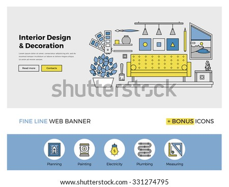 Flat line design of web banner template with outline icons of living room interior design and art, stylish home apartment decoration work. Modern vector illustration concept for website or infographic - stock vector